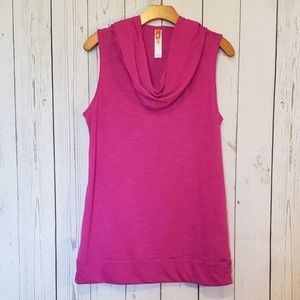 Lucy Pink Cowl Neck Hooded Sleeveless Top Large